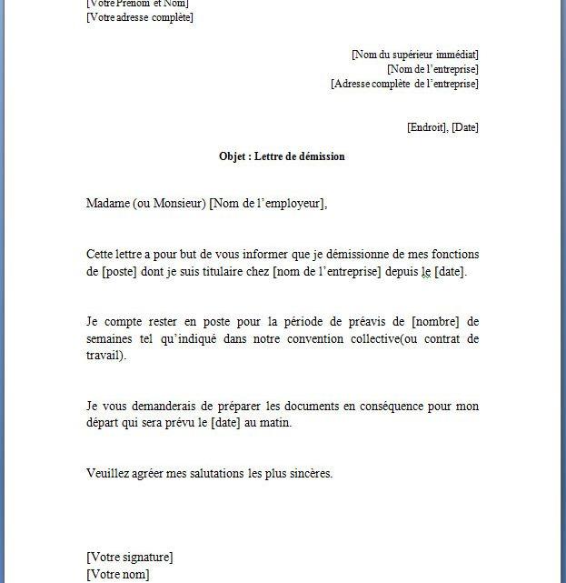 Lettre de démission pour un CDI(Contrat à Durée Indéterminée)