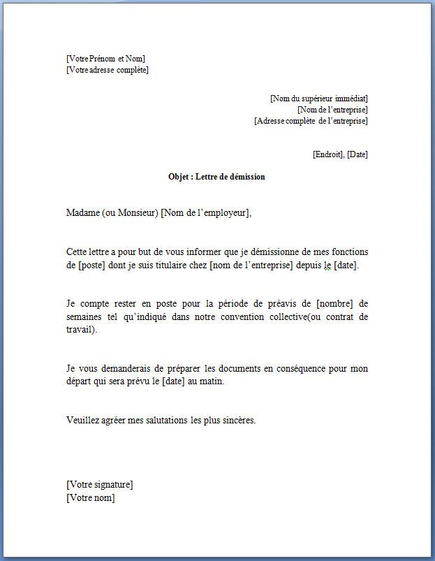 Exemple de lettre de démission pour un contrat à durée indéterminée