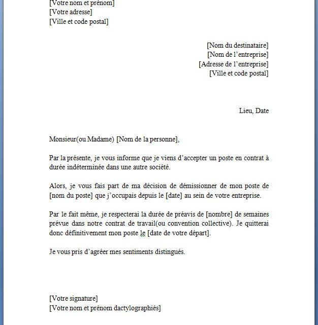 Lettre de Démission CDD (Contrat à Durée Déterminée) | Docutexte