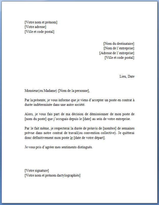 exemple de lettre de démission pour un contrat à durée déterminée ou CDD