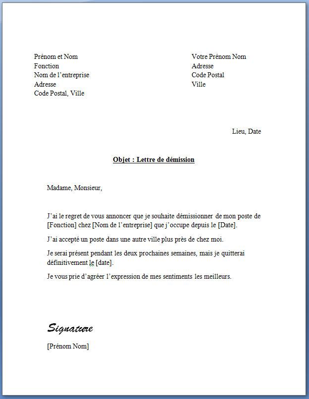 Lettre de demission avec preavis et adresses au même niveau
