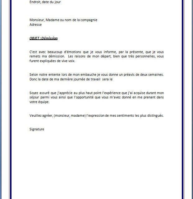 Modèle de lettre de démission avec préavis | Docutexte