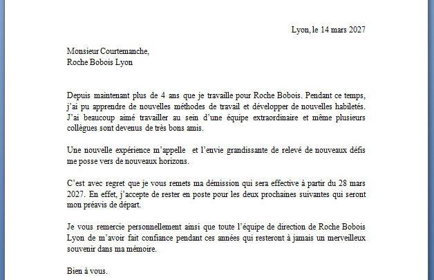 Modèle lettre de démission CDI avec préavis