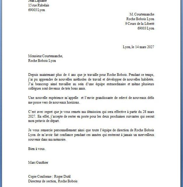 Lettre De Demission: Exemple De Lettre De Démission Complétée