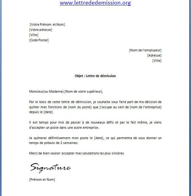 Modèle lettre de démission avec préavis | Docutexte