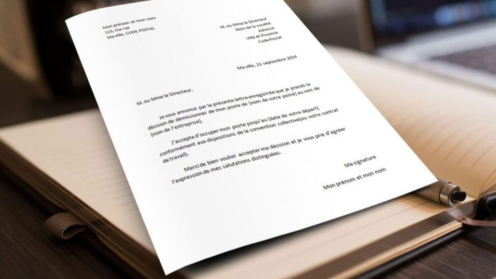 Modèle de lettre de démission standard