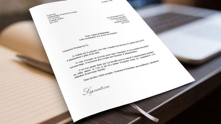 Lettre de démission d'un administrateur