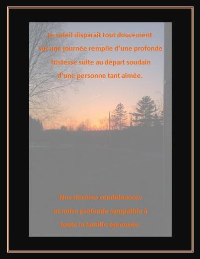 Lettre et Message de condoléances… Le soleil disparaît tout doucement