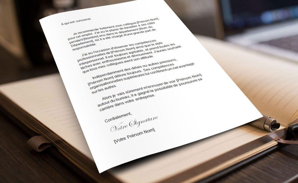 Lettre de recommandation d'un collègue