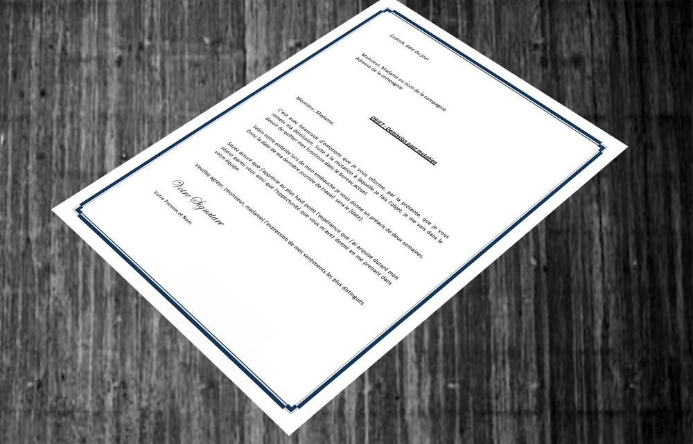 lettre de d u00e9mission pour mutation