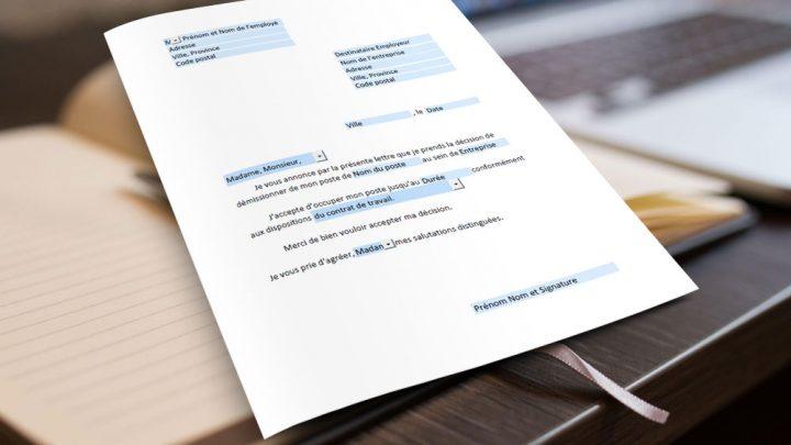 Formulaire d'une lettre de démission PDF