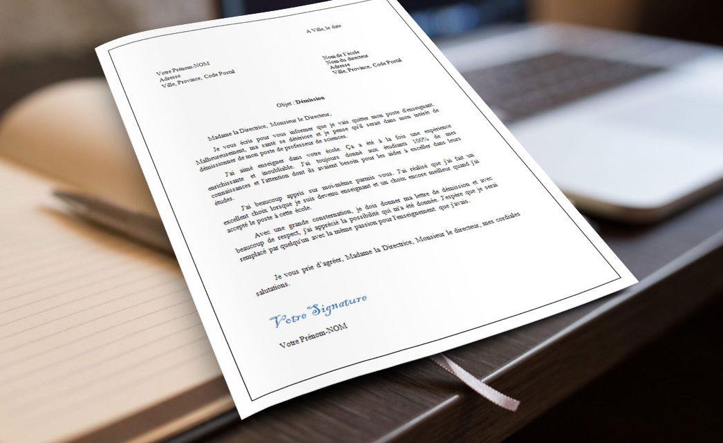 Lettre de démission d'une enseignante ou d'un enseignant ...