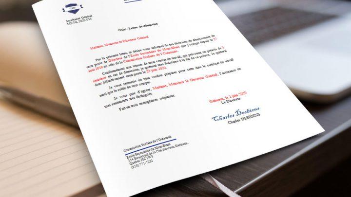 Lettre de démission au poste de Directeur d'école