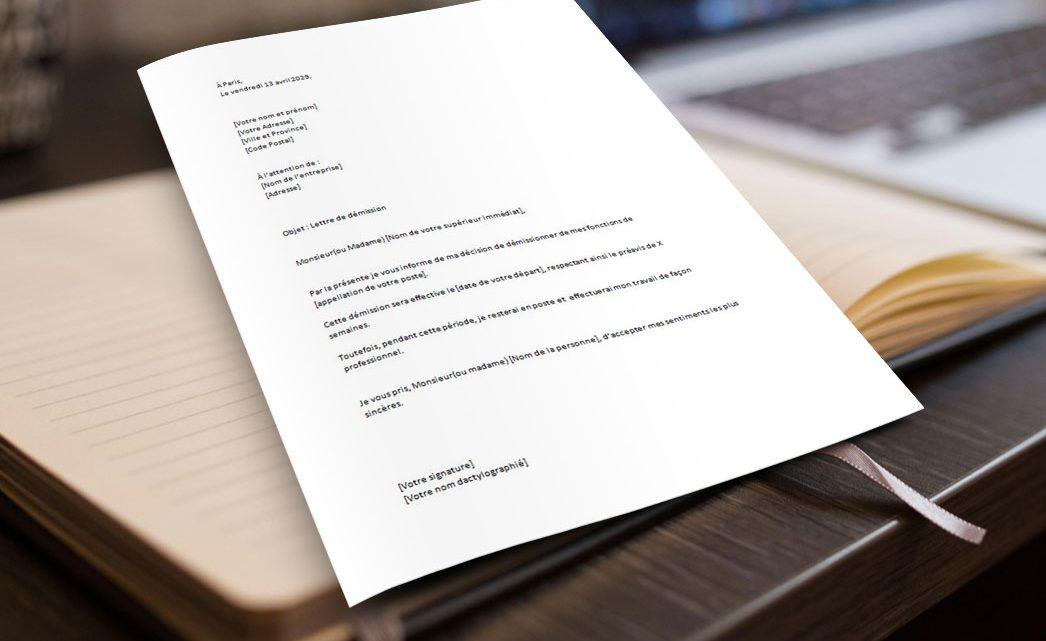 Lettre de Démission Simple