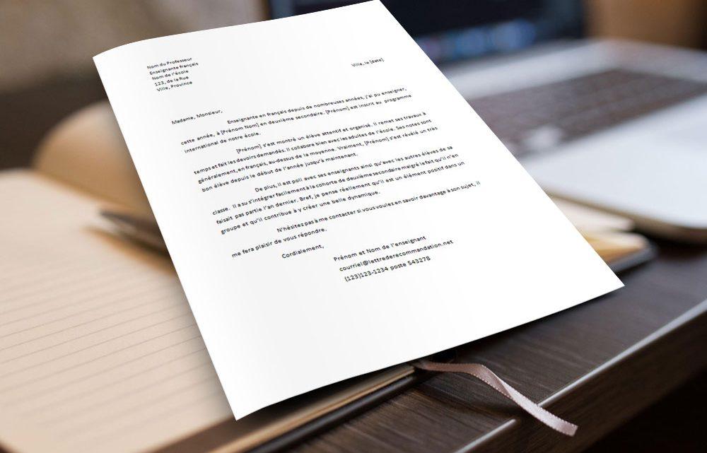 Enseignant pour un élève – Lettre de recommandation
