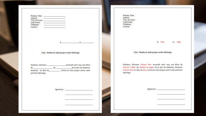 Modèle de lettre Remise en main propre contre décharge