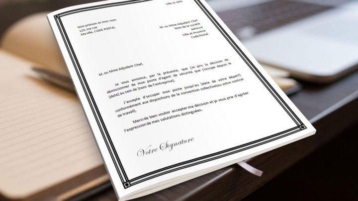 Lettre de démission pour un agent de sécurité