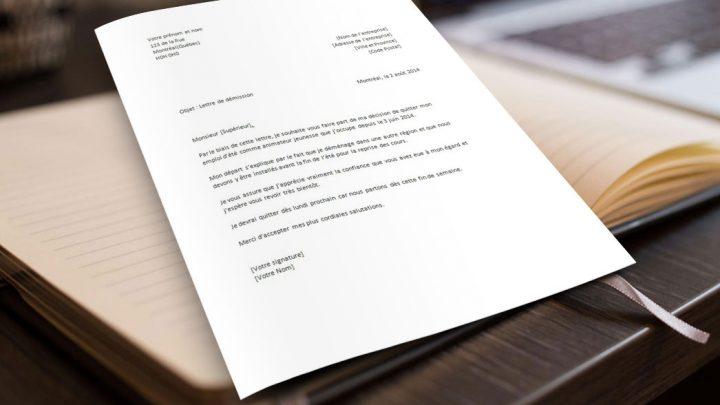Lettre de démission pour un emploi étudiant