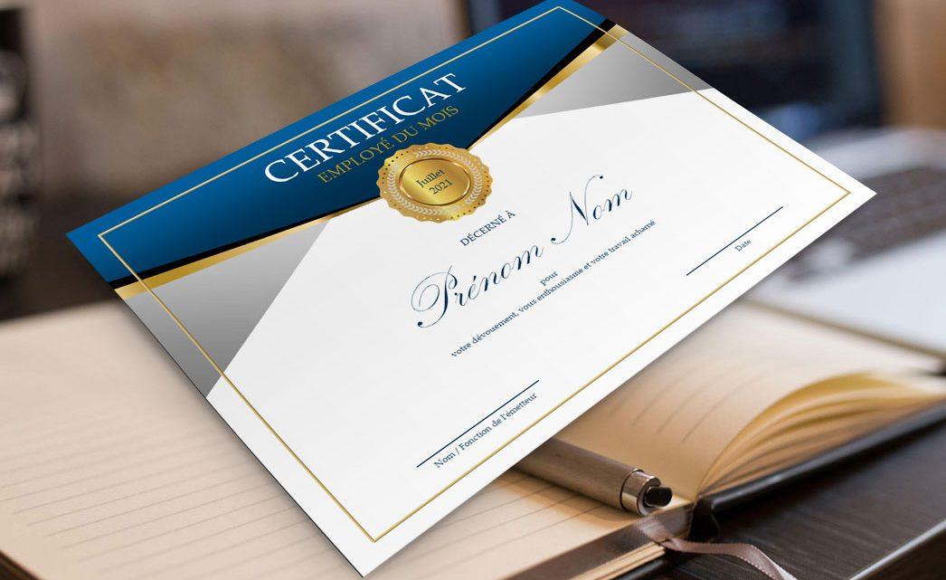 Certificat Employé du Mois