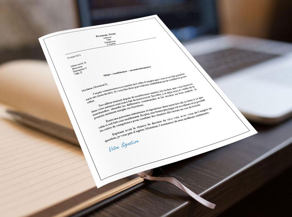 lettre de motivation manutentionnaire