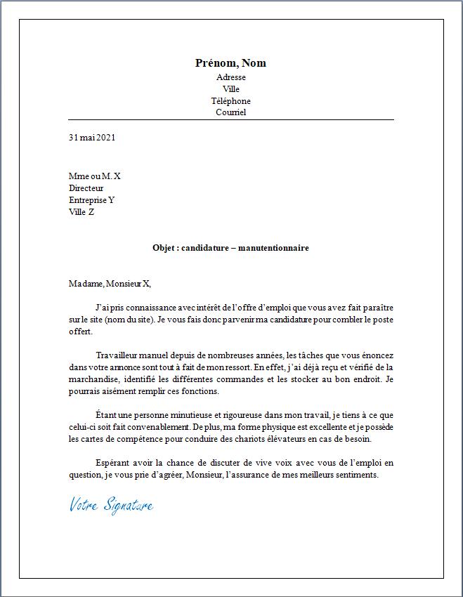 lettre de motivation et présentation pour une ou un manutentionnaire
