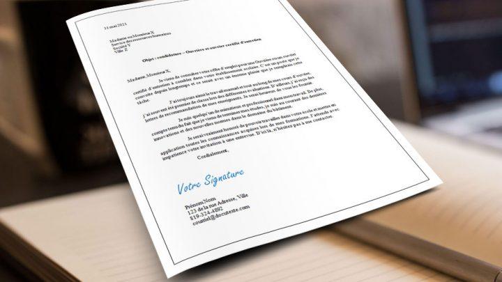 Lettre de présentation Ouvrière et ouvrier certifié d'entretien