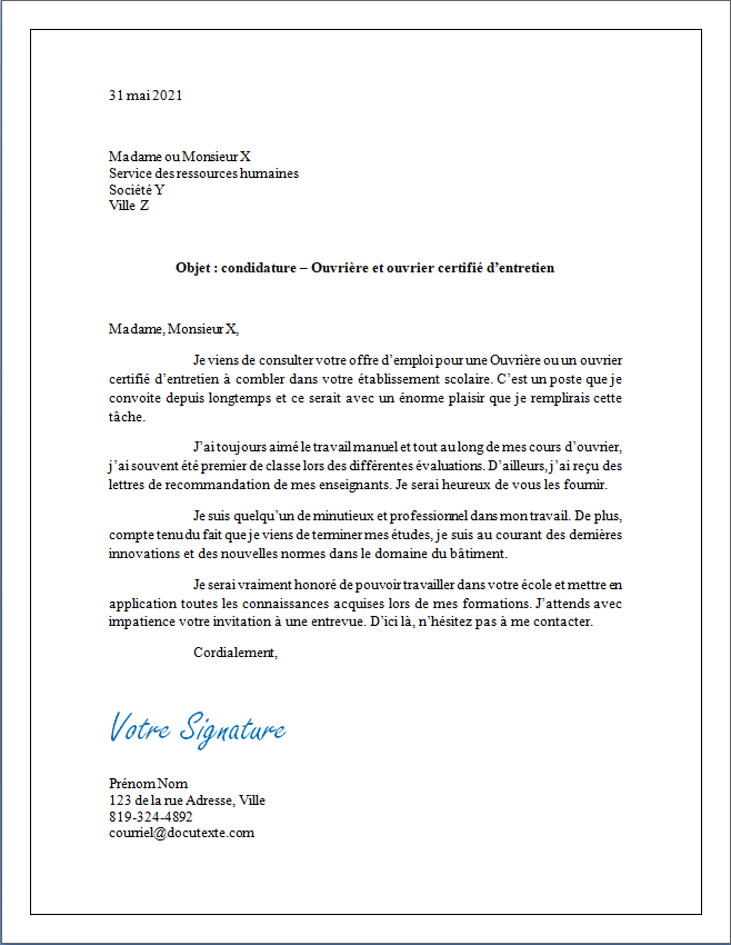 lettre de motivation et de présentation d'une ouvrière ou d'un ouvrier certifié d'entretien