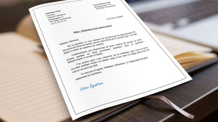 Lettre de résiliation d'un contrat de travail Suisse