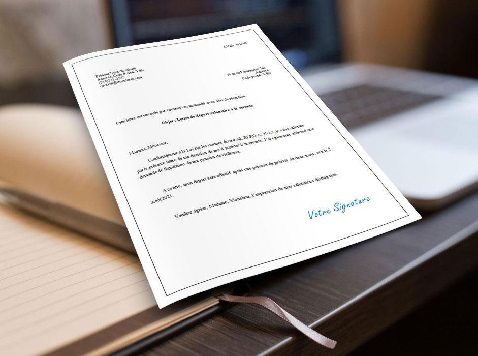 Modèle de lettre de départ volontaire à la retraite au format Microsoft Word