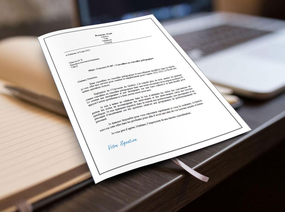 Lettre de présentation ou de motivation pour une conseillère ou un conseiller pédagogique