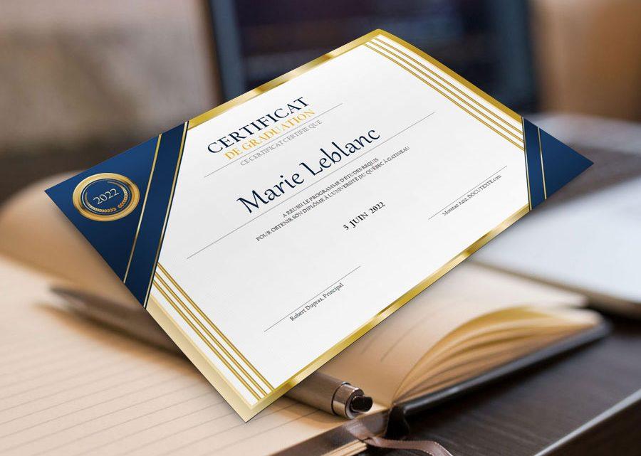 Certificat de graduation