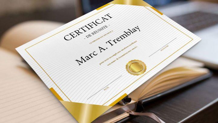 Certificat de réussite | Modèle Word et Formulaire PDF
