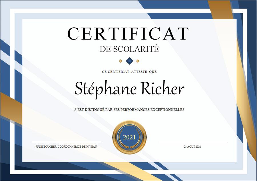 certificat de scolarité au format microsoft word et formulaire PDF modifiable