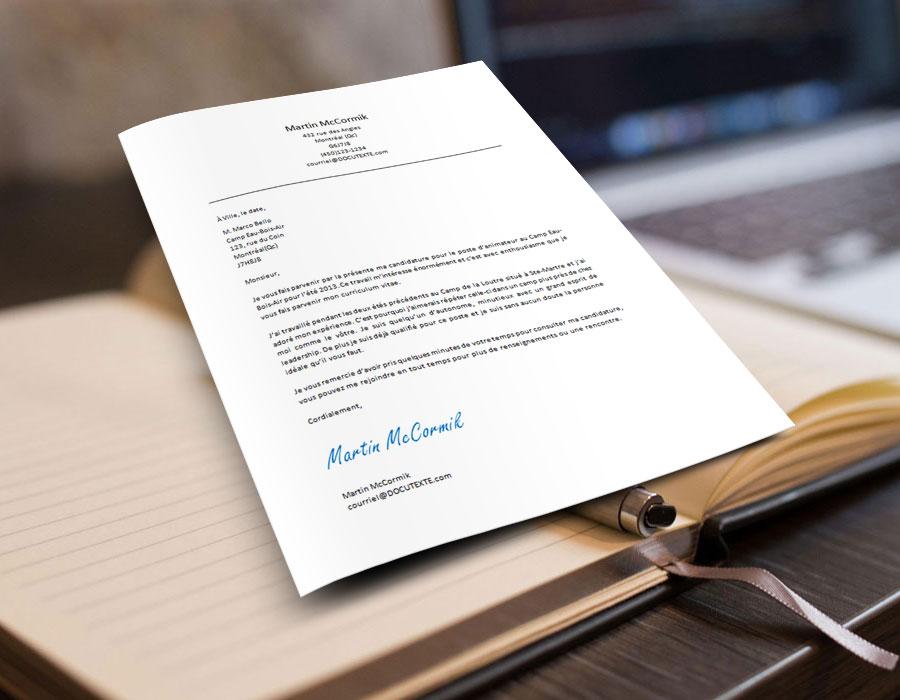 modèle de lettre de présentation pour un emploi d'été édutiant au format microsoft word téléchargeable gratuitement.