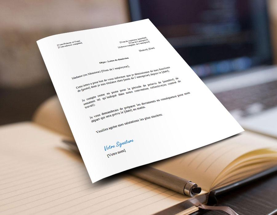 Modèle et exemple de lettre de démission pour un contrat à durée indéterminée ou CDI à télécharger au format microsoft word