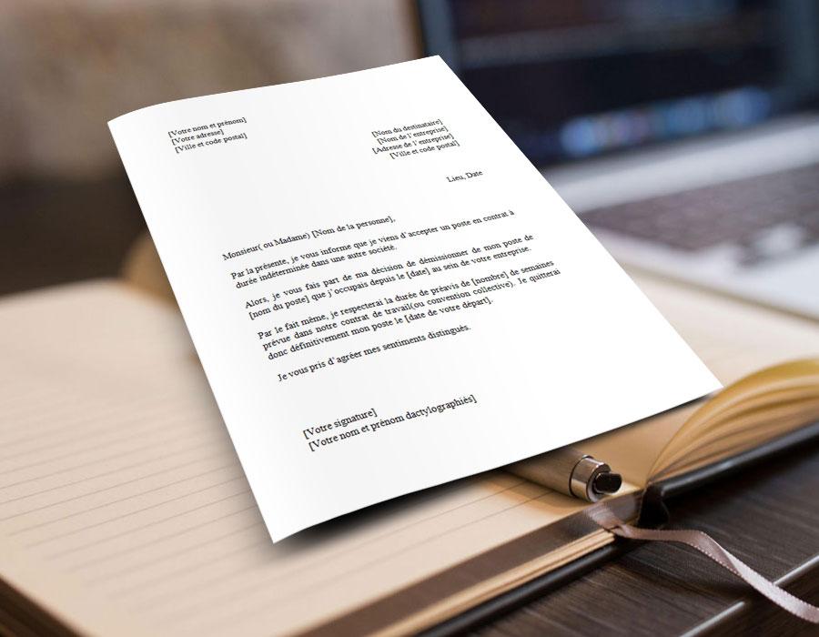 Modèle word gratuit et exemple de lettre de démission en CDD ou Contrat à Durée Déterminée