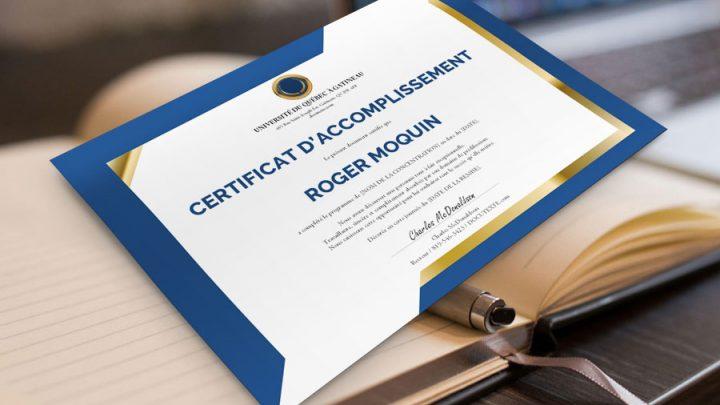 Certificat d'accomplissement