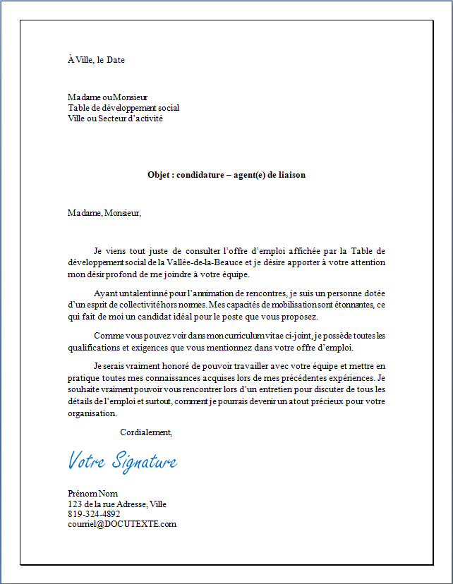 lettre de motivation ou lettre de présentation pour un emploi d'agente ou d'agent de liaison à mettre en première page de son CV