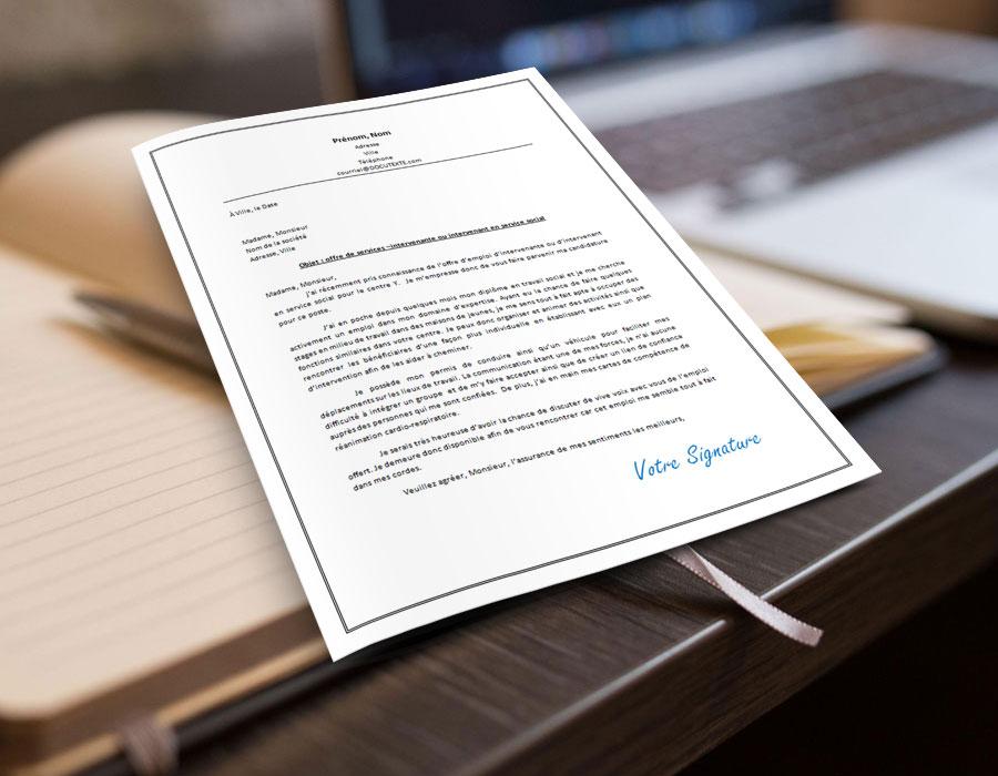 exemple et modèle de lettre de motivation ou de présentation à mettre en première page de son CV pour appliquer sur un poste d'intervenante ou d'intervenant en service social