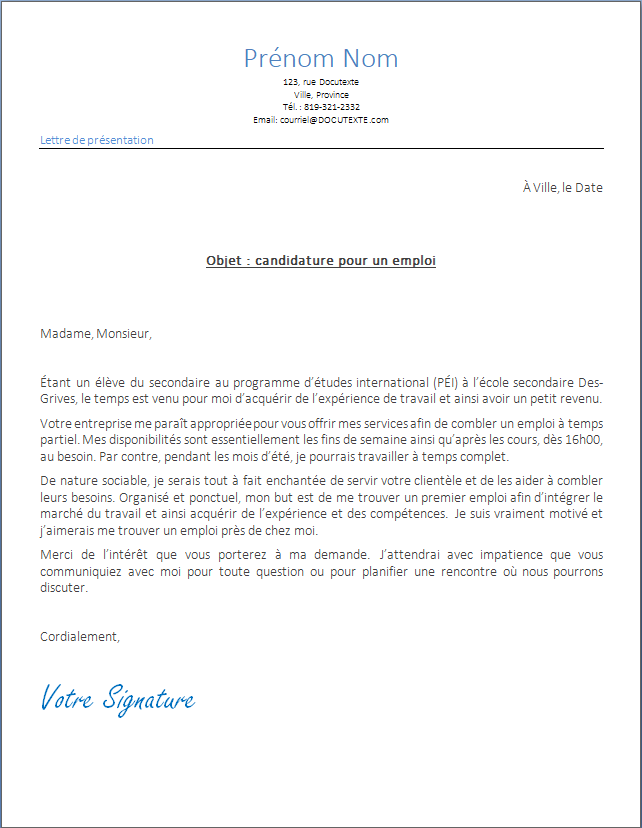 lettre de présentation ou de motivation pour application sur un emploi d'une adolescente ou d'un adolescent de 14 ans